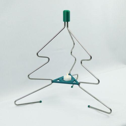 Weihnachtsbaum aus Edelstahl mit Teelichthalter